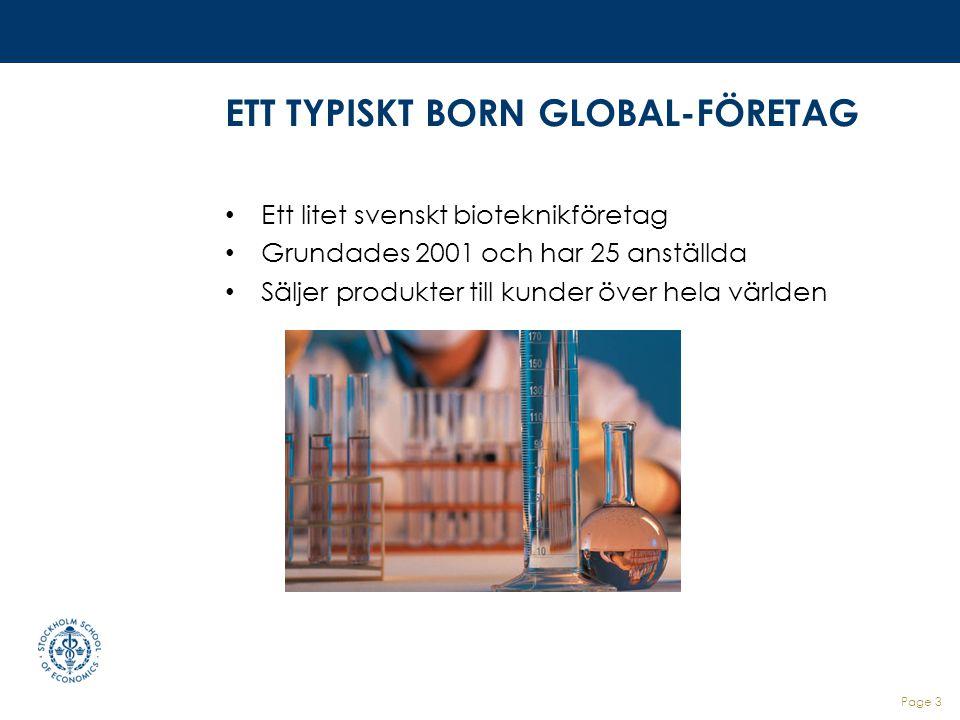 ETT TYPISKT BORN GLOBAL-FÖRETAG Ett litet svenskt bioteknikföretag Grundades 2001 och har 25 anställda Säljer produkter till kunder över hela världen