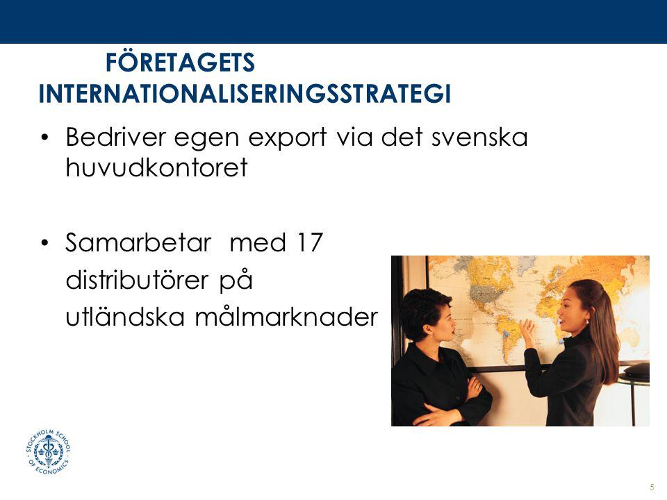 FÖRETAGETS INTERNATIONALISERINGSSTRATEGI Bedriver egen export via det svenska huvudkontoret Samarbetar med 17 distributörer på utländska målmarknader