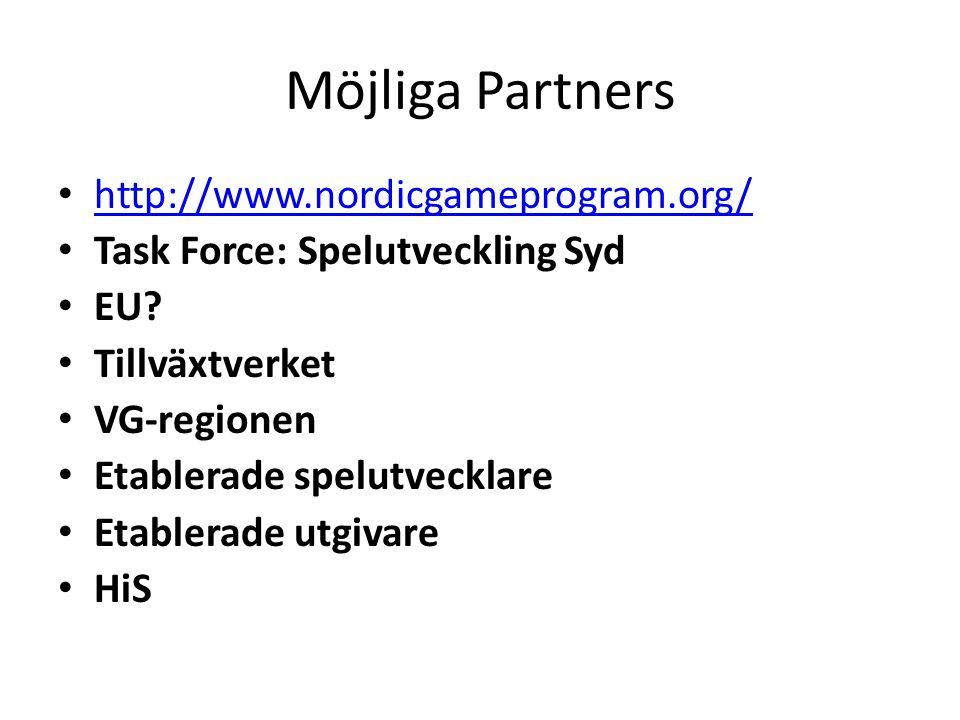 Möjliga Partners http://www.nordicgameprogram.org/ Task Force: Spelutveckling Syd EU.