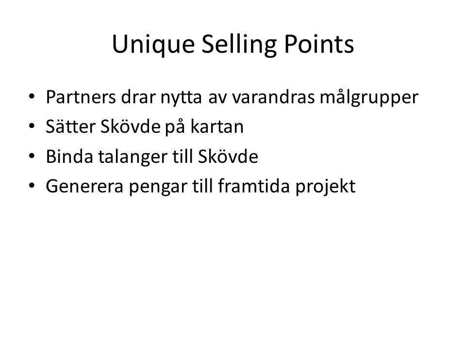 Unique Selling Points Partners drar nytta av varandras målgrupper Sätter Skövde på kartan Binda talanger till Skövde Generera pengar till framtida projekt