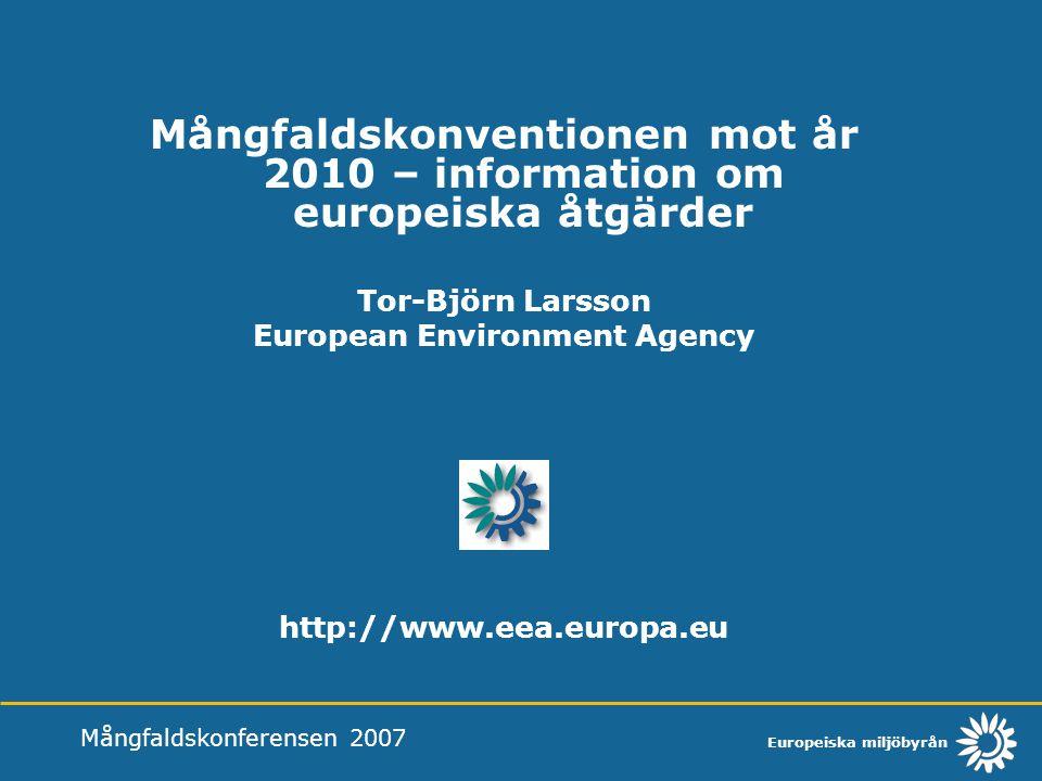 Europeiska miljöbyrån Mångfaldskonventionen mot år 2010 – information om europeiska åtgärder Miljöbyrån och dess roll inom EU EC Clearing-House Mechanism EEA Forest report to COP-9 Streamlining European 2010 Biodiversity Indicators EU Biodiversity Communication Mångfaldskonferensen 2007