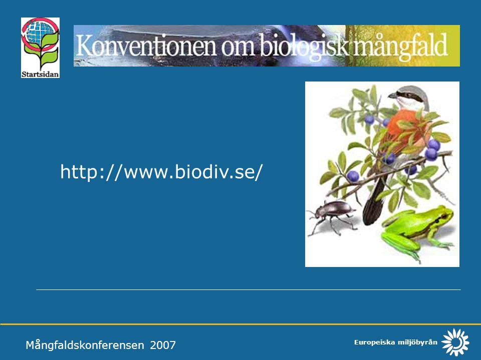 Europeiska miljöbyrån Mångfaldskonferensen 2007 http://www.biodiv.se/