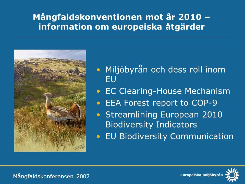 Europeiska miljöbyrån An EU Action Plan to 2010 and Beyond Mångfaldskonferensen 2007 Årliga rapporter till Rådet och Parlamentet: Aktionsprogrammens genomförande Headline biodiversity indicators (SEBI2010) Ett 'biodiversity index'