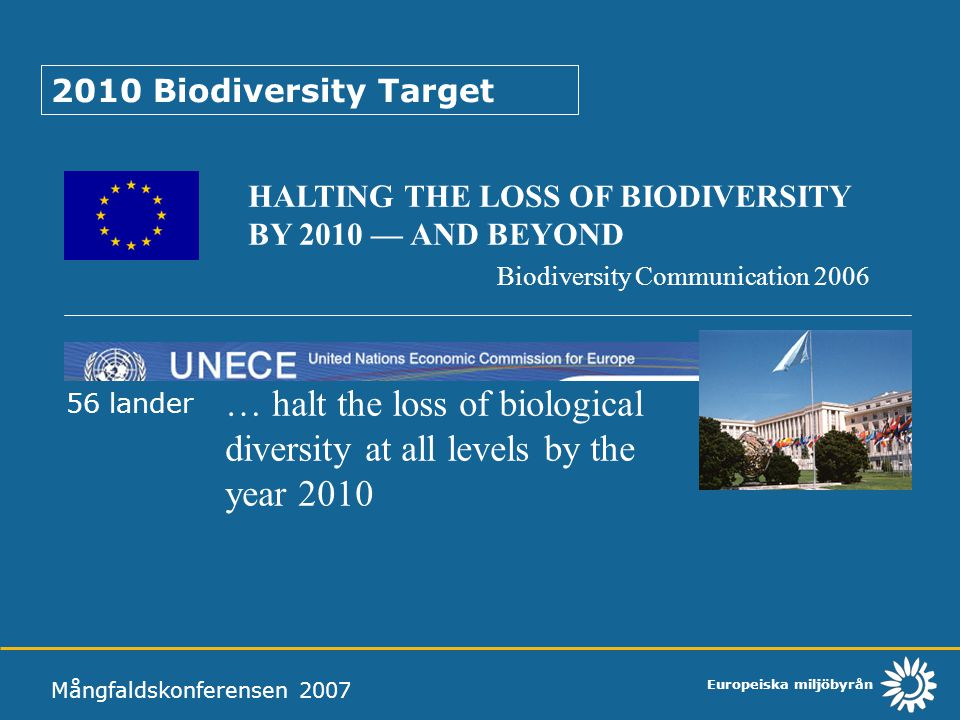 Europeiska miljöbyrån Mångfaldskonferensen 2007 2010 Biodiversity Target HALTING THE LOSS OF BIODIVERSITY BY 2010 — AND BEYOND Biodiversity Communicat