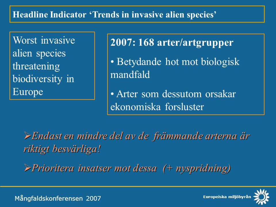 Europeiska miljöbyrån Mångfaldskonferensen 2007 Headline Indicator 'Trends in invasive alien species' Worst invasive alien species threatening biodive