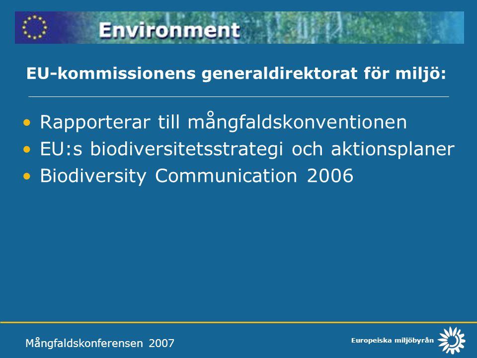 Europeiska miljöbyrån EU-kommissionens generaldirektorat för miljö: Rapporterar till mångfaldskonventionen EU:s biodiversitetsstrategi och aktionsplaner Biodiversity Communication 2006 Mångfaldskonferensen 2007 Ministerrådet Politiska ställningstaganden EU:s talan förs av ordförandelandet
