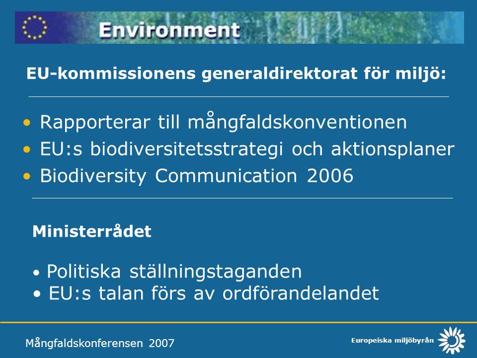 Europeiska miljöbyrån EU-kommissionens generaldirektorat för miljö: Rapporterar till mångfaldskonventionen EU:s biodiversitetsstrategi och aktionsplaner Biodiversity Communication 2006 Fågel- och Habitatdirektiven (Natura 2000) The new Financial Instrument for the Environment LIFE+ Mångfaldskonferensen 2007
