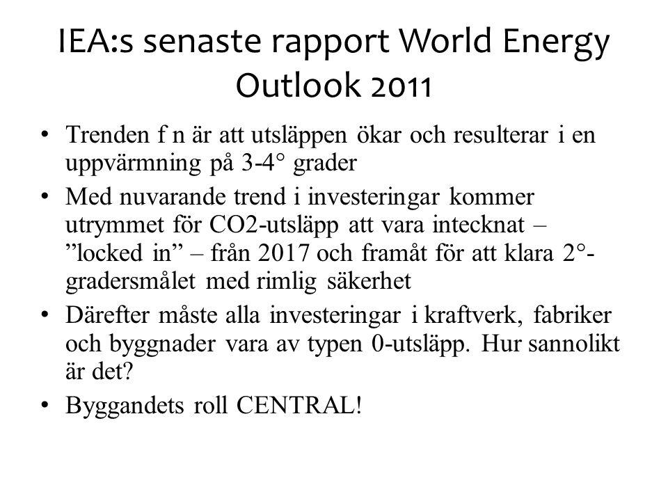 IEA:s senaste rapport World Energy Outlook 2011 Trenden f n är att utsläppen ökar och resulterar i en uppvärmning på 3-4° grader Med nuvarande trend i investeringar kommer utrymmet för CO2-utsläpp att vara intecknat – locked in – från 2017 och framåt för att klara 2°- gradersmålet med rimlig säkerhet Därefter måste alla investeringar i kraftverk, fabriker och byggnader vara av typen 0-utsläpp.