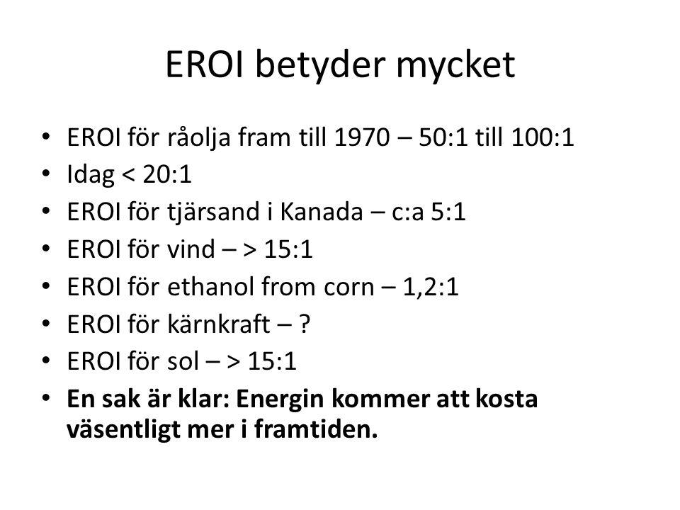 EROI betyder mycket EROI för råolja fram till 1970 – 50:1 till 100:1 Idag < 20:1 EROI för tjärsand i Kanada – c:a 5:1 EROI för vind – > 15:1 EROI för ethanol from corn – 1,2:1 EROI för kärnkraft – .