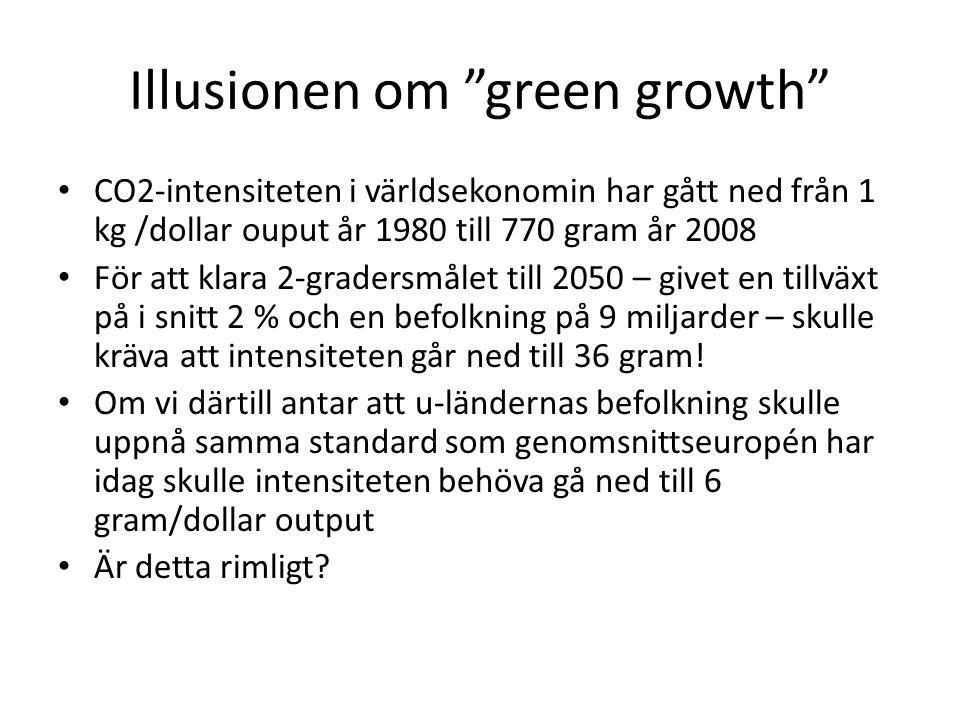 Illusionen om green growth CO2-intensiteten i världsekonomin har gått ned från 1 kg /dollar ouput år 1980 till 770 gram år 2008 För att klara 2-gradersmålet till 2050 – givet en tillväxt på i snitt 2 % och en befolkning på 9 miljarder – skulle kräva att intensiteten går ned till 36 gram.