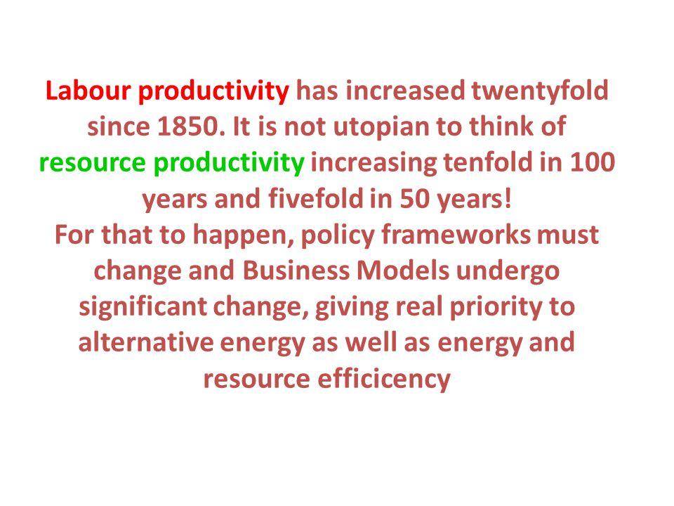 Labour productivity has increased twentyfold since 1850.