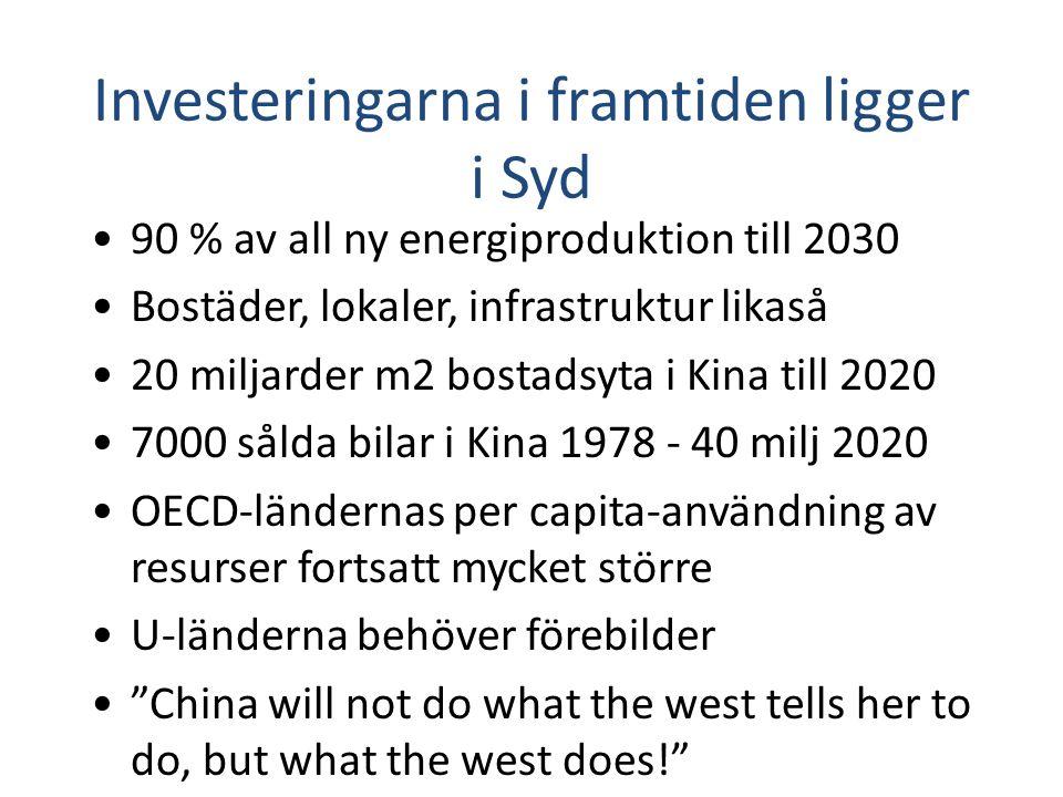 Investeringarna i framtiden ligger i Syd 90 % av all ny energiproduktion till 2030 Bostäder, lokaler, infrastruktur likaså 20 miljarder m2 bostadsyta i Kina till 2020 7000 sålda bilar i Kina 1978 - 40 milj 2020 OECD-ländernas per capita-användning av resurser fortsatt mycket större U-länderna behöver förebilder China will not do what the west tells her to do, but what the west does!