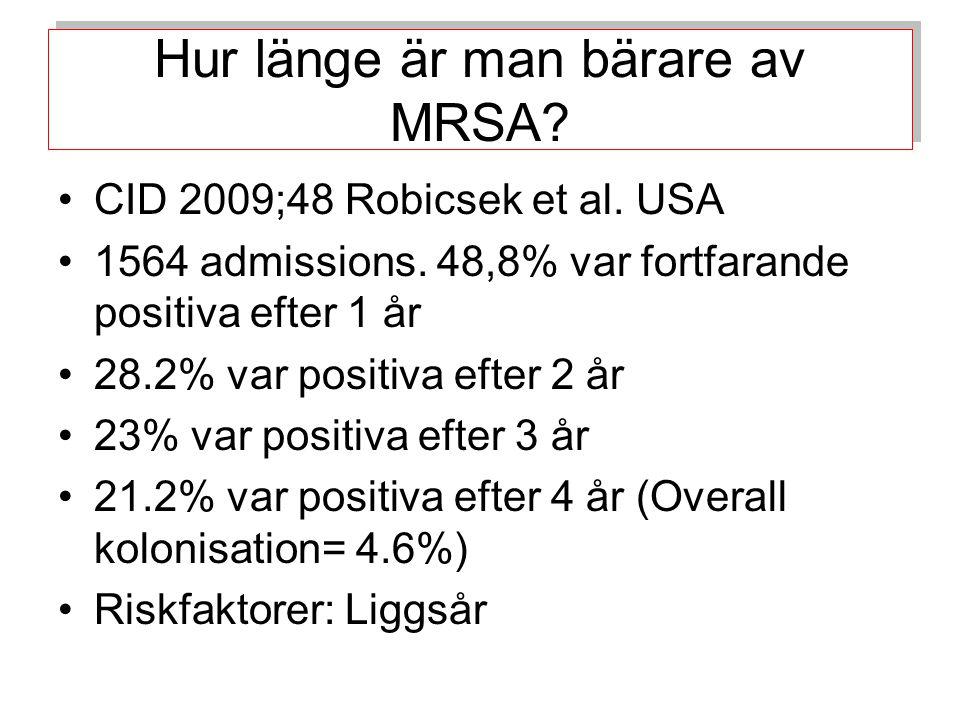 Hur länge är man bärare av MRSA.CID 2009;48 Robicsek et al.