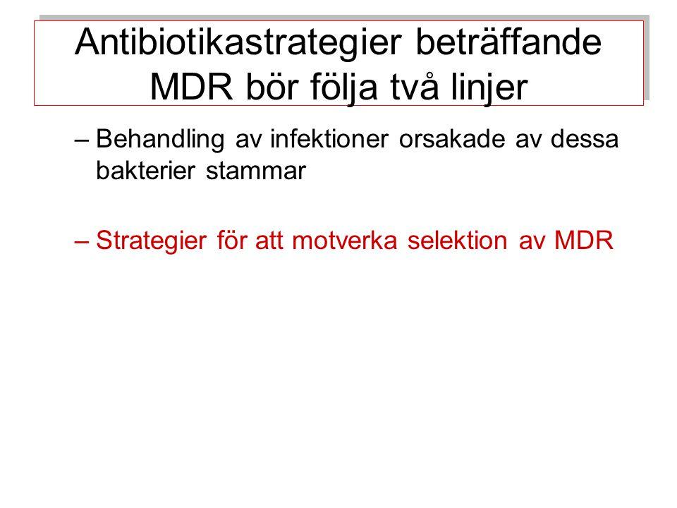 Antibiotikastrategier beträffande MDR bör följa två linjer –Behandling av infektioner orsakade av dessa bakterier stammar –Strategier för att motverka selektion av MDR