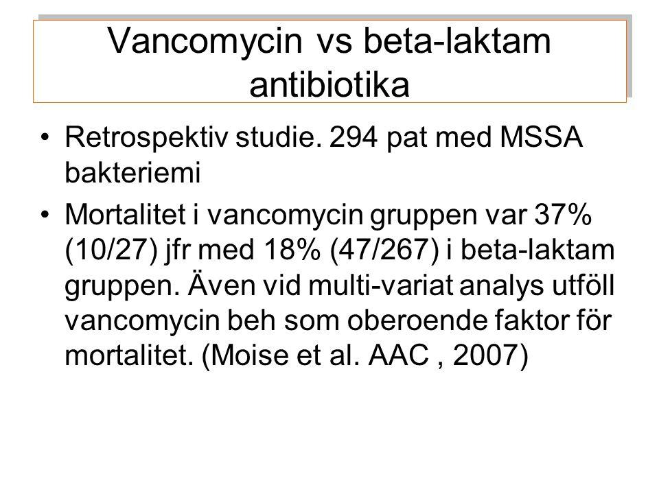 Vancomycin vs beta-laktam antibiotika Retrospektiv studie.
