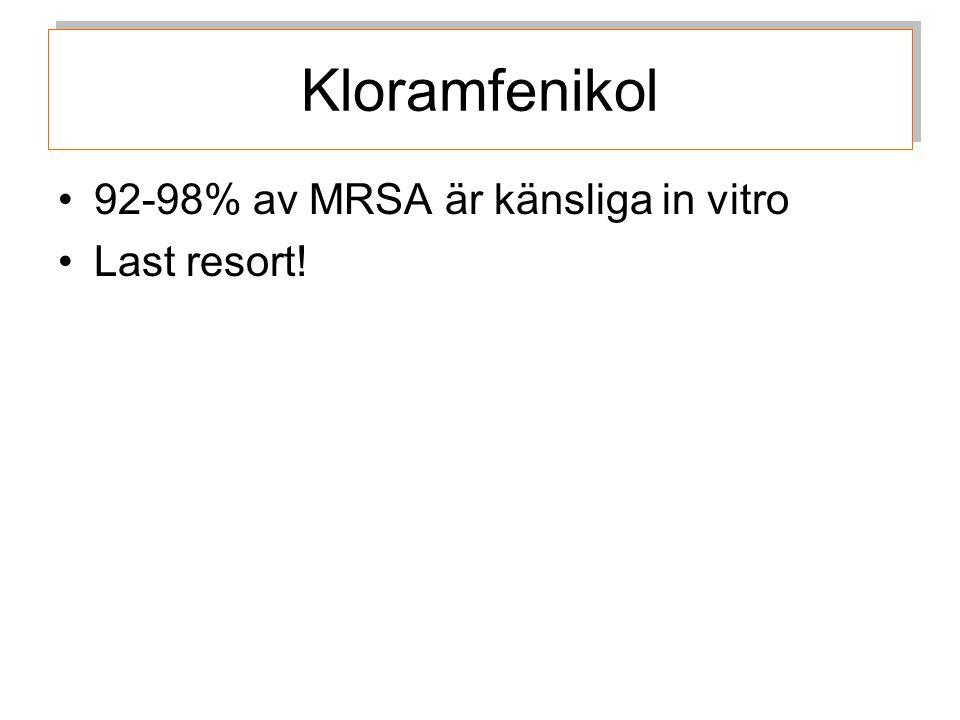 92-98% av MRSA är känsliga in vitro Last resort! Kloramfenikol
