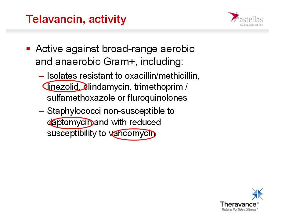 Brytpunkter Företaget begär för streptokocker och stafylokocker S<2 mg/l VRE har ökade MIC för telavancin