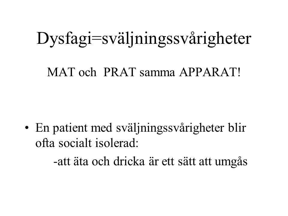 Dysfagi=sväljningssvårigheter MAT och PRAT samma APPARAT! En patient med sväljningssvårigheter blir ofta socialt isolerad: -att äta och dricka är ett