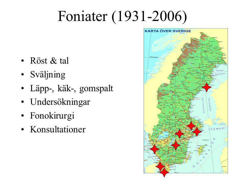 Foniater (1931-2006) Röst & tal Sväljning Läpp-, käk-, gomspalt Undersökningar Fonokirurgi Konsultationer