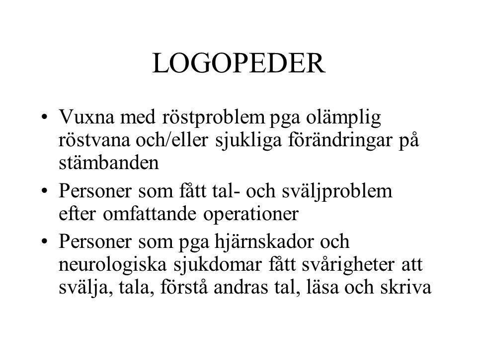 LOGOPEDER Vuxna med röstproblem pga olämplig röstvana och/eller sjukliga förändringar på stämbanden Personer som fått tal- och sväljproblem efter omfa