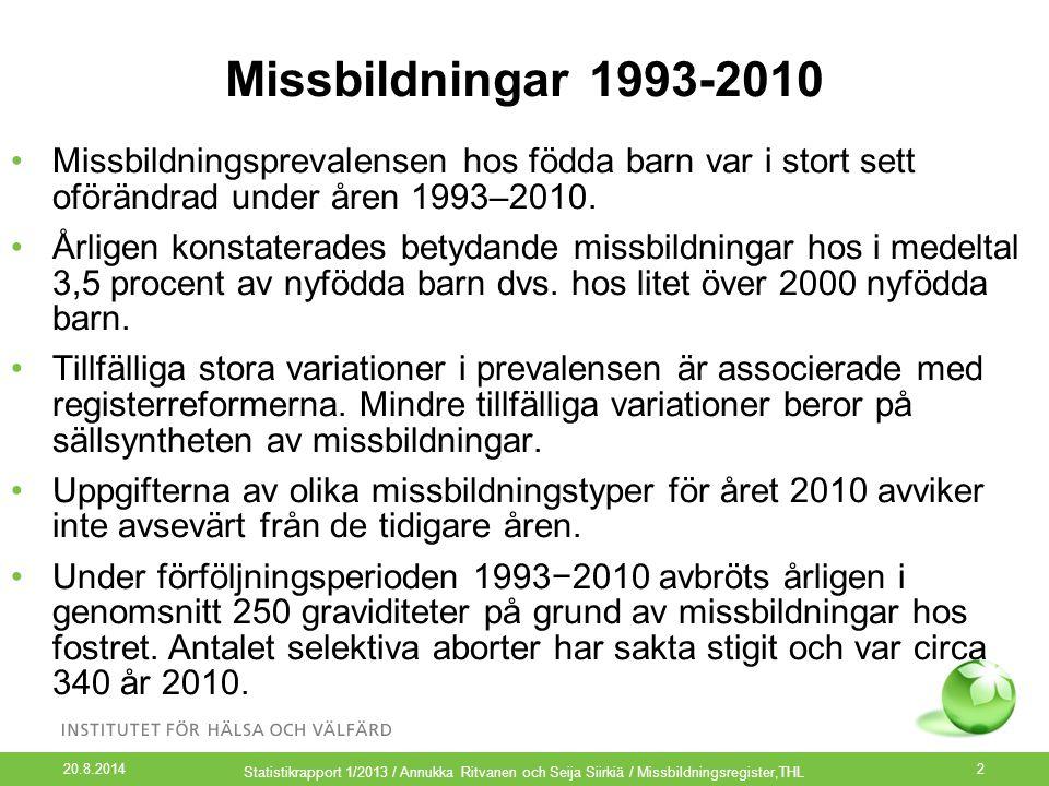 Missbildningar 1993-2010 Missbildningsprevalensen hos födda barn var i stort sett oförändrad under åren 1993–2010. Årligen konstaterades betydande mis