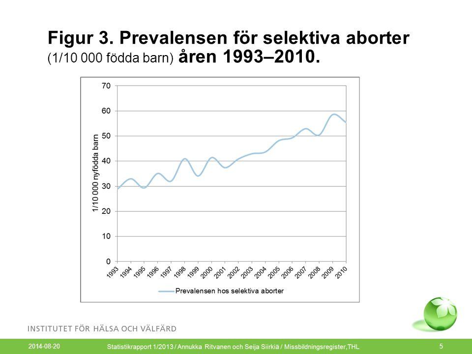 2014-08-20 5 Figur 3. Prevalensen för selektiva aborter (1/10 000 födda barn) åren 1993–2010.