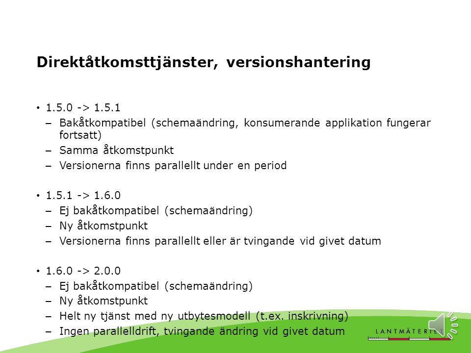 Direktåtkomsttjänster, versionshantering http://namespace.lantmateriet.se/distribution/produkter/fastighet/v1.5 XML-schema http://namespace.lantmateriet.se/distribution/produkter/fastighet/v1.5 /fastighet-1.5.0.xsd Åtkomstpunkt Version