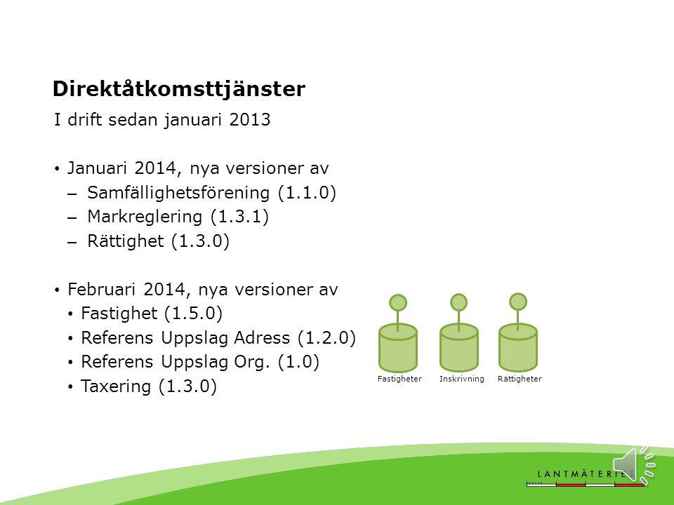 I drift sedan januari 2013 Januari 2014, nya versioner av – Samfällighetsförening (1.1.0) – Markreglering (1.3.1) – Rättighet (1.3.0) Februari 2014, nya versioner av Fastighet (1.5.0) Referens Uppslag Adress (1.2.0) Referens Uppslag Org.