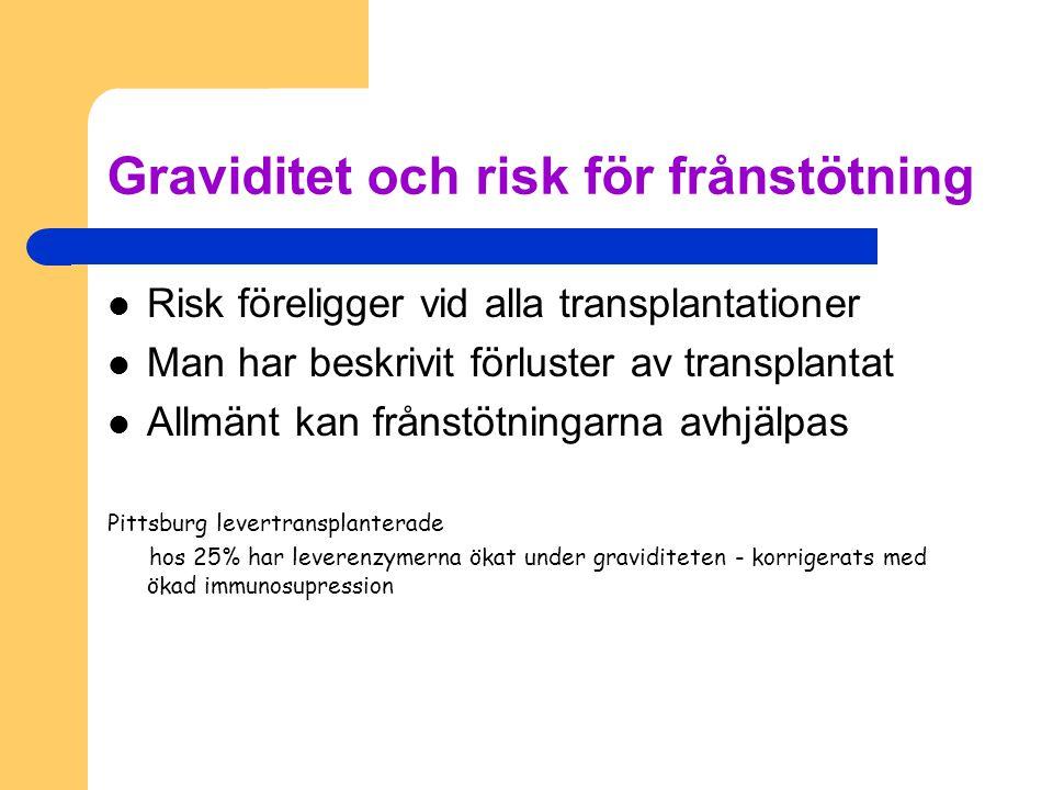 Graviditet och risk för frånstötning Risk föreligger vid alla transplantationer Man har beskrivit förluster av transplantat Allmänt kan frånstötningar