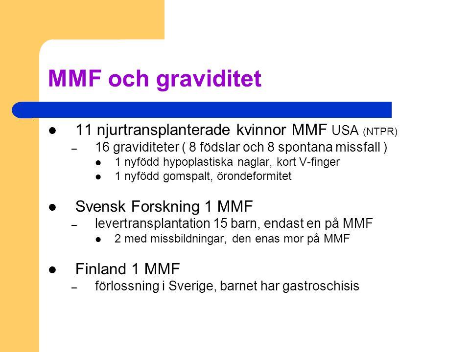 MMF och graviditet 11 njurtransplanterade kvinnor MMF USA (NTPR) – 16 graviditeter ( 8 födslar och 8 spontana missfall ) 1 nyfödd hypoplastiska naglar