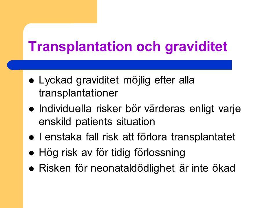 Transplantation och graviditet Lyckad graviditet möjlig efter alla transplantationer Individuella risker bör värderas enligt varje enskild patients si