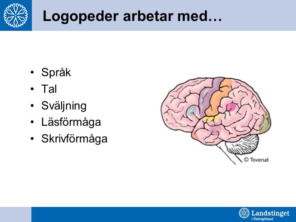 Logopeder arbetar med… Språk Tal Sväljning Läsförmåga Skrivförmåga