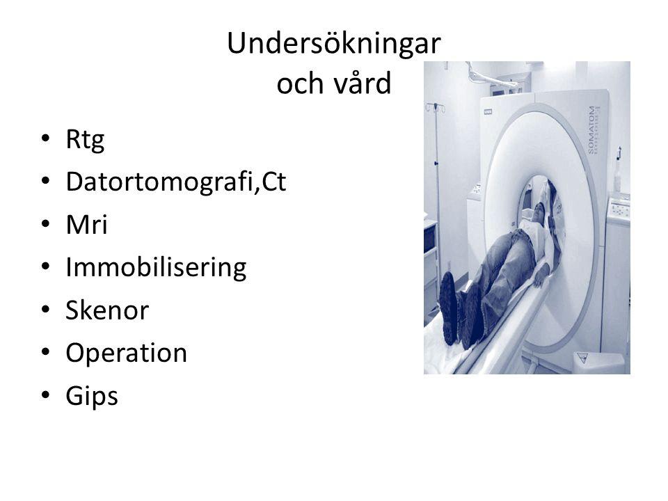 Undersökningar och vård Rtg Datortomografi,Ct Mri Immobilisering Skenor Operation Gips