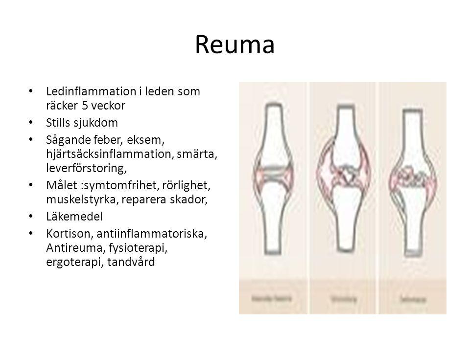Reuma Ledinflammation i leden som räcker 5 veckor Stills sjukdom Sågande feber, eksem, hjärtsäcksinflammation, smärta, leverförstoring, Målet :symtomf
