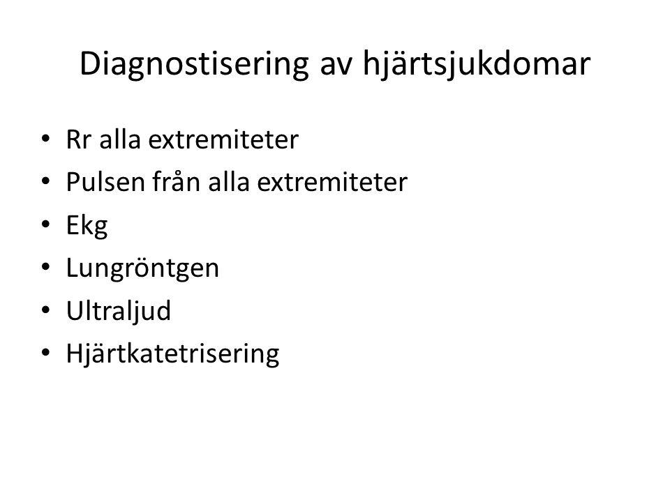 Diagnostisering av hjärtsjukdomar Rr alla extremiteter Pulsen från alla extremiteter Ekg Lungröntgen Ultraljud Hjärtkatetrisering