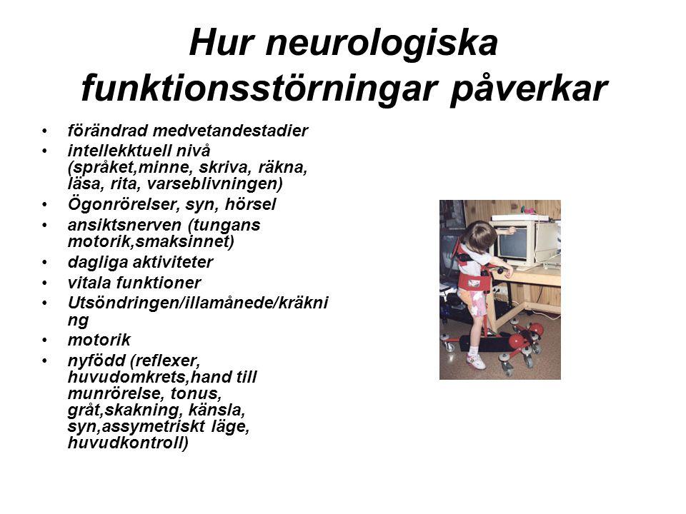Hur neurologiska funktionsstörningar påverkar förändrad medvetandestadier intellekktuell nivå (språket,minne, skriva, räkna, läsa, rita, varseblivning