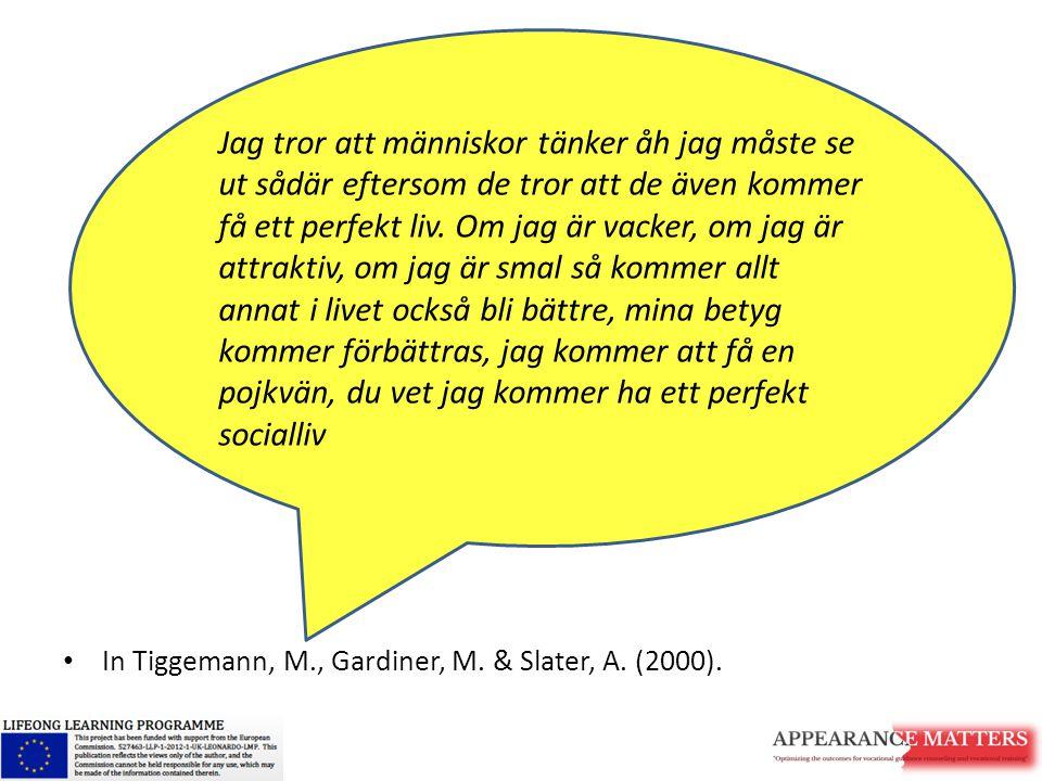 In Tiggemann, M., Gardiner, M. & Slater, A. (2000). Jag tror att människor tänker åh jag måste se ut sådär eftersom de tror att de även kommer få ett
