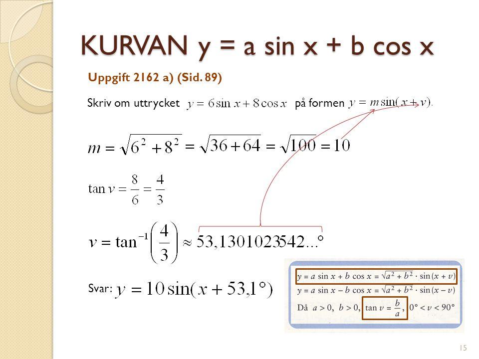 KURVAN y = a sin x + b cos x Skriv om uttrycket på formen Uppgift 2162 a) (Sid. 89) Svar: 15