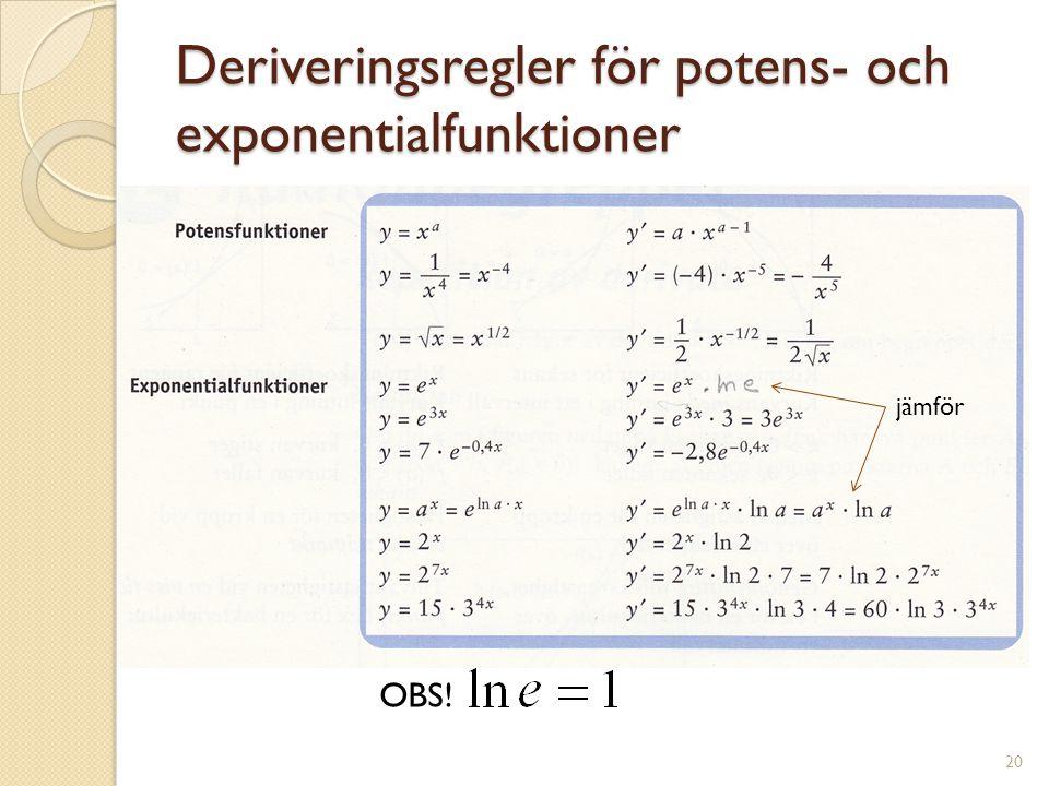 Deriveringsregler för potens- och exponentialfunktioner jämför OBS! 20