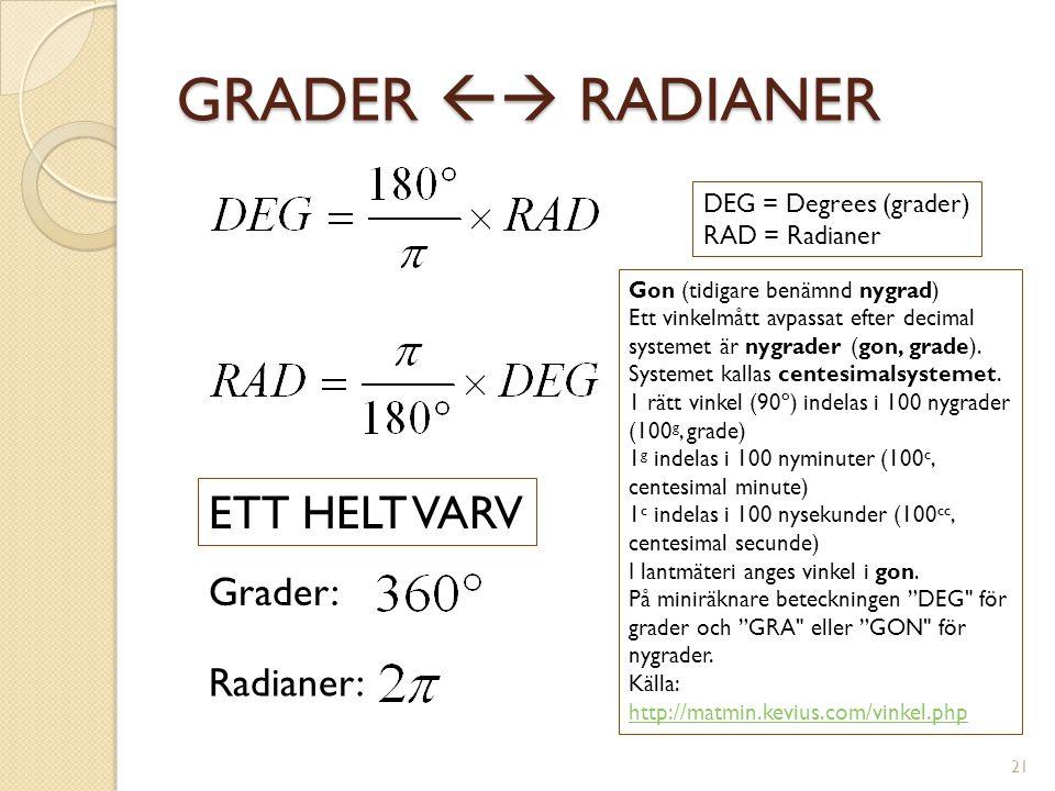GRADER  RADIANER DEG = Degrees (grader) RAD = Radianer ETT HELT VARV Grader: Radianer: Gon (tidigare benämnd nygrad) Ett vinkelmått avpassat efter d
