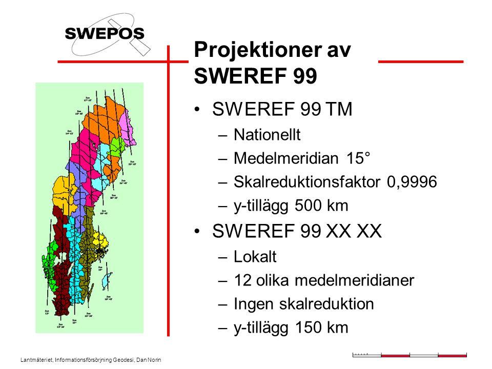 Lantmäteriet, Informationsförsörjning Geodesi, Dan Norin Projektioner av SWEREF 99 SWEREF 99 TM –Nationellt –Medelmeridian 15° –Skalreduktionsfaktor 0