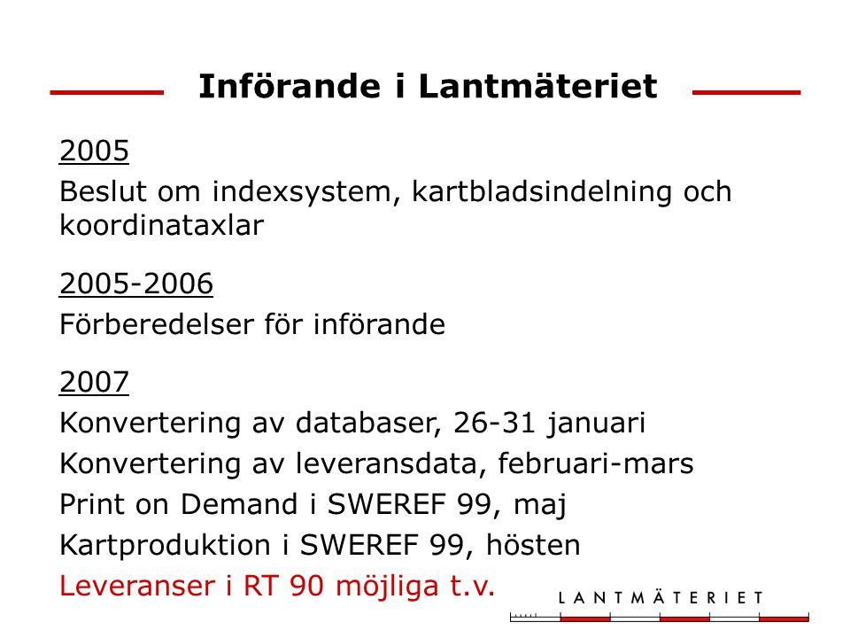 2005 Beslut om indexsystem, kartbladsindelning och koordinataxlar 2005-2006 Förberedelser för införande 2007 Konvertering av databaser, 26-31 januari