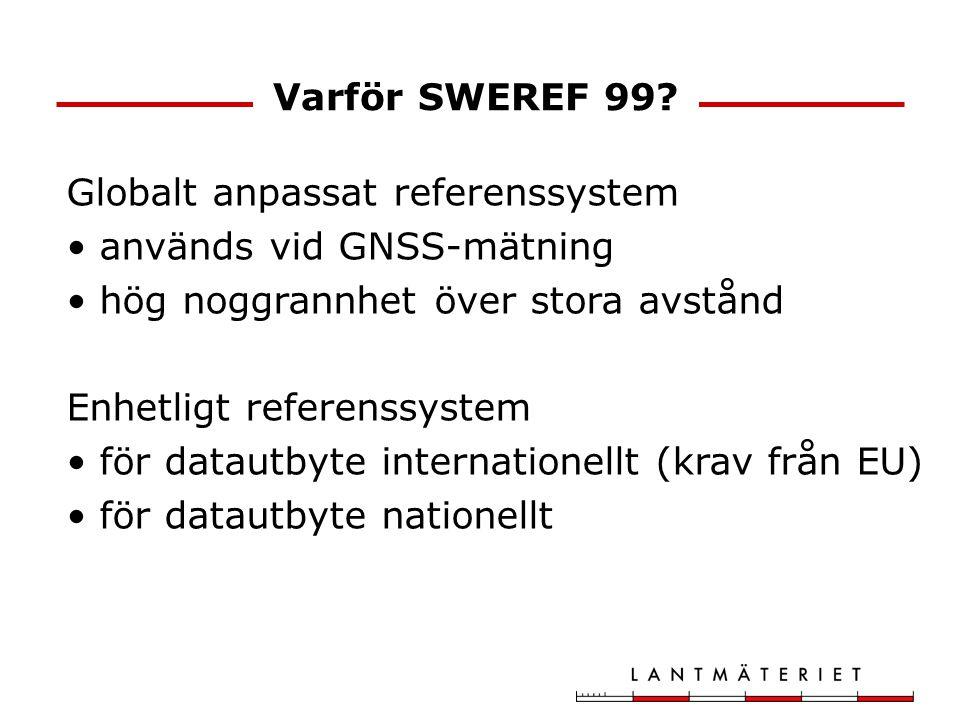 Varför SWEREF 99? Globalt anpassat referenssystem används vid GNSS-mätning hög noggrannhet över stora avstånd Enhetligt referenssystem för datautbyte