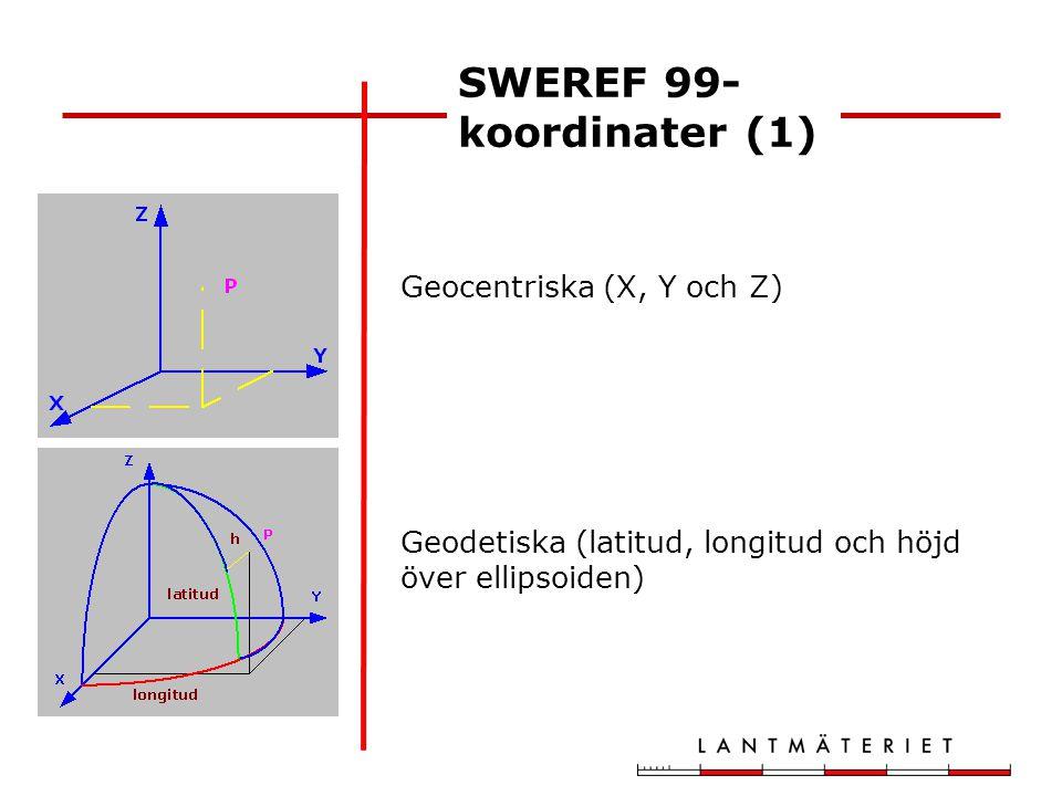 SWEREF 99 TM nationellt medelmeridian 15° skalreduktionsfaktor 0.9996 y-tillägg 500 km SWEREF 99 DD MM lokalt 12 olika medelmeridianer ingen skalreduktion y-tillägg 150 km SWEREF 99- koordinater (2)
