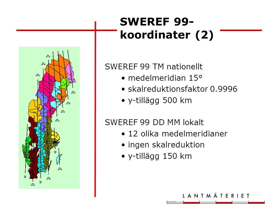SWEREF 99 TM nationellt medelmeridian 15° skalreduktionsfaktor 0.9996 y-tillägg 500 km SWEREF 99 DD MM lokalt 12 olika medelmeridianer ingen skalreduk