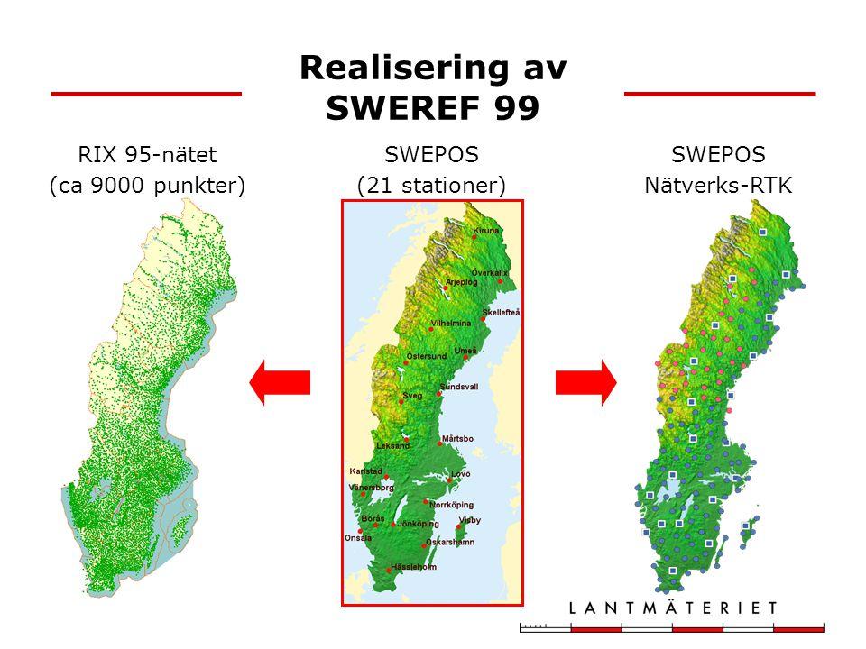 Införande i Lantmäteriet 1999 Geodetiska förarbeten, etablering av SWEREF 99 2001 Rapport till regeringen om införande av SWEREF 99 2003 Rapport till regeringen om val av kartprojektioner Beslut om införande i Lantmäteriet 2003-2005 Projektarbete - planering