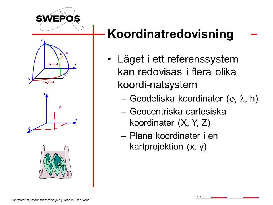 Lantmäteriet, Informationsförsörjning Geodesi, Dan Norin Koordinatredovisning Läget i ett referenssystem kan redovisas i flera olika koordi-natsystem –Geodetiska koordinater ( ,, h) –Geocentriska cartesiska koordinater (X, Y, Z) –Plana koordinater i en kartprojektion (x, y) P Y X Z latitud longitud h Y Z X P