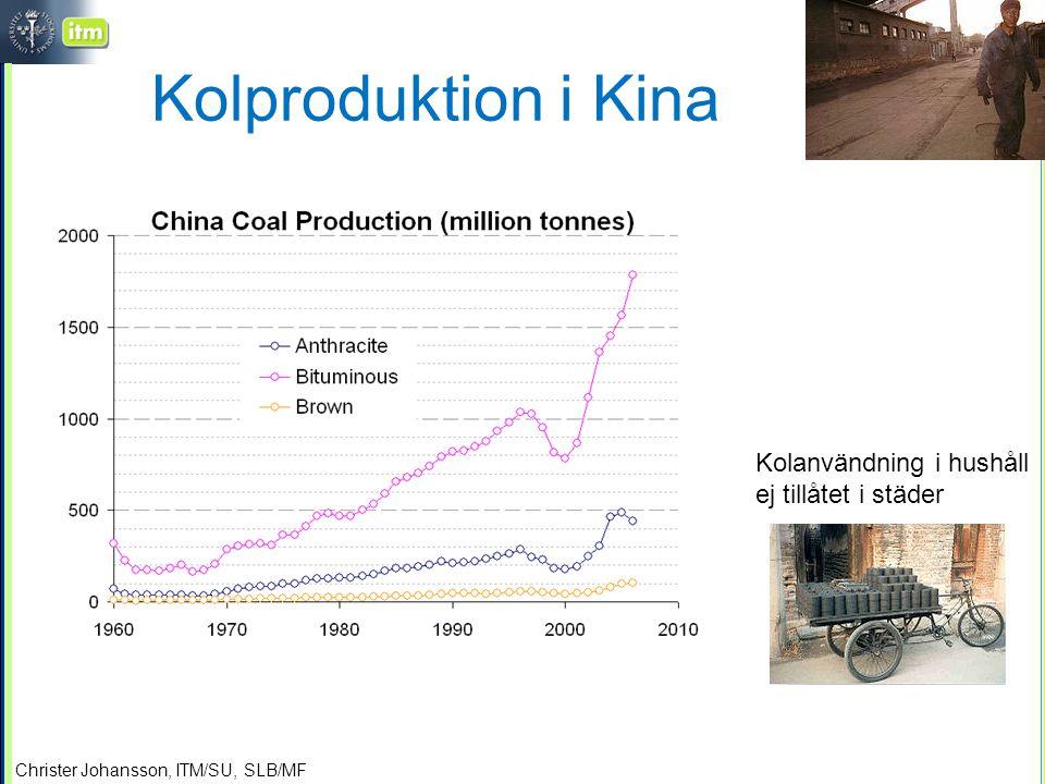 Christer Johansson, ITM/SU, SLB/MF Kolproduktion i Kina Kolanvändning i hushåll ej tillåtet i städer
