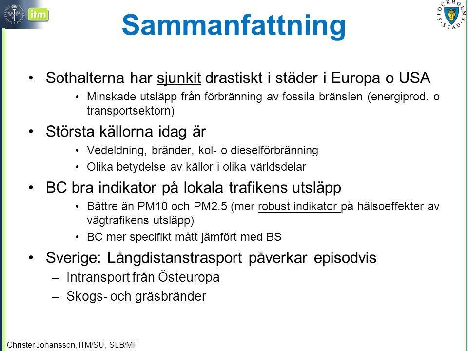 Christer Johansson, ITM/SU, SLB/MF Sammanfattning Sothalterna har sjunkit drastiskt i städer i Europa o USA Minskade utsläpp från förbränning av fossila bränslen (energiprod.