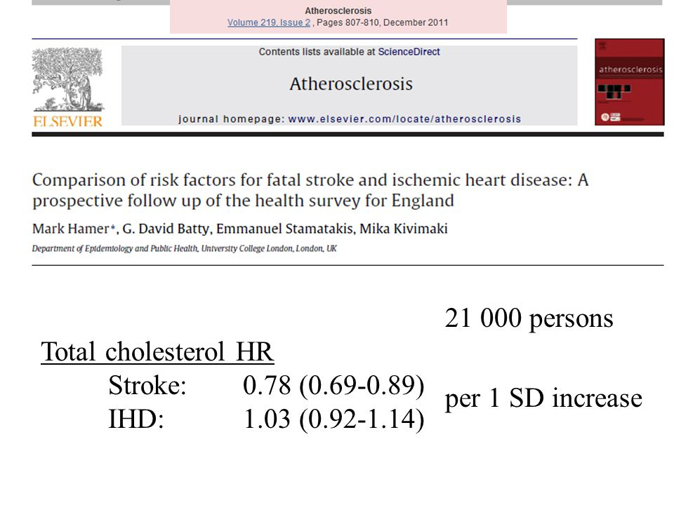 21 000 persons Total cholesterol HR Stroke: 0.78 (0.69-0.89) IHD:1.03 (0.92-1.14) per 1 SD increase